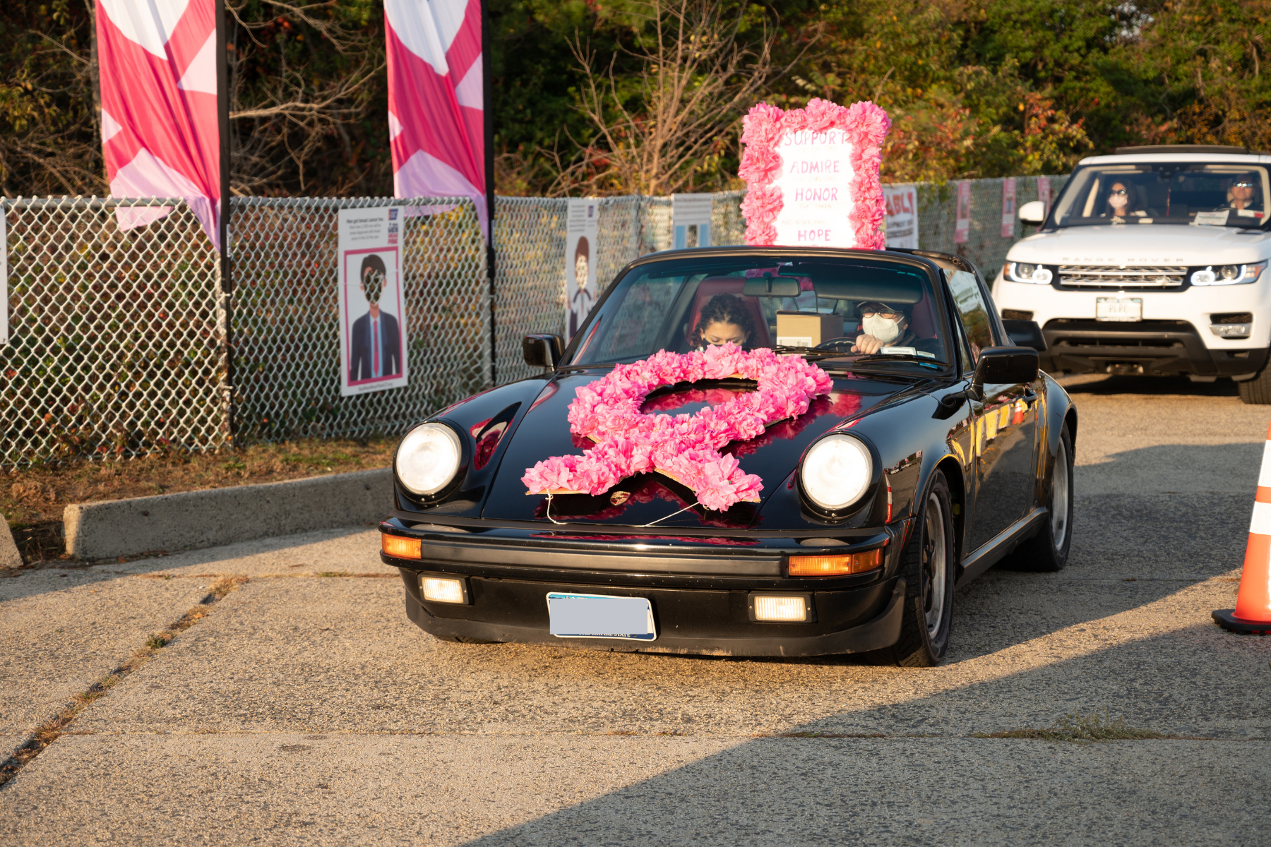 Car with pink ribbon on car atMaking Strides 2020 Drive Through photo