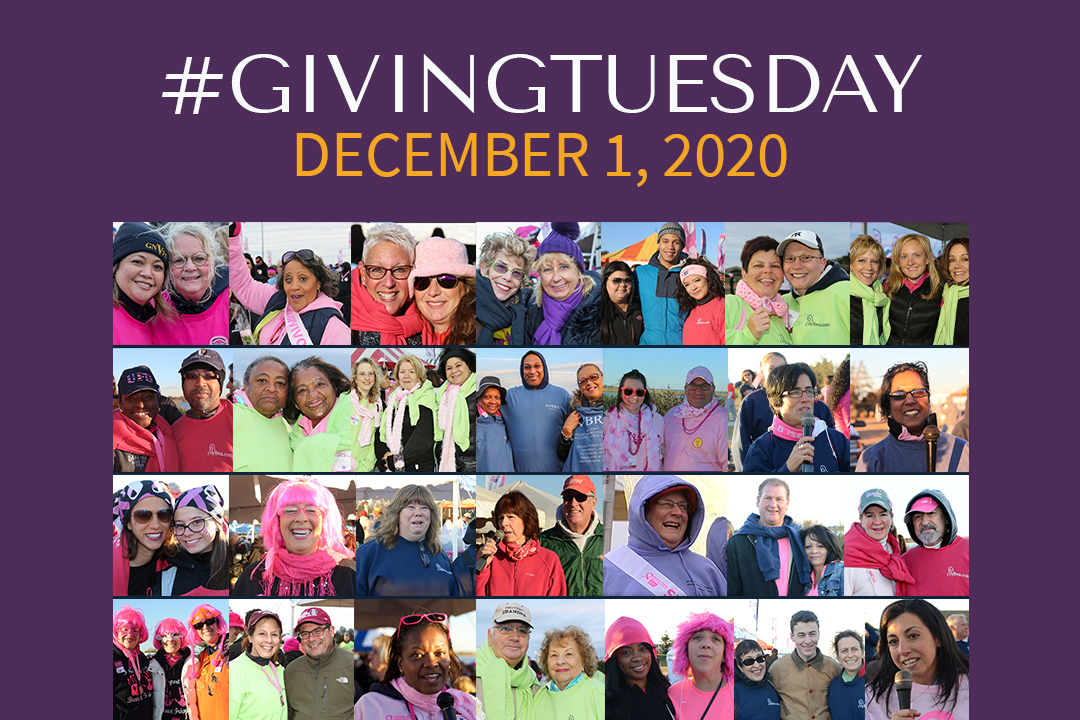 Purple color box with 30 photos of individuals from our past Making Strides Against Breast Cancer events at Jones Beach. Text: #GivingTuesday December 1, 2020