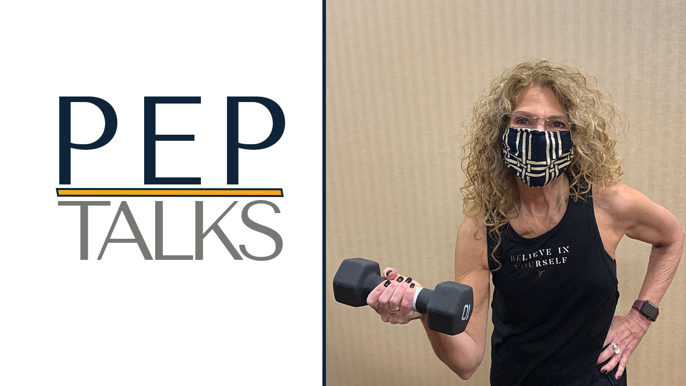 PEP Talk Header Mollie lifting weights