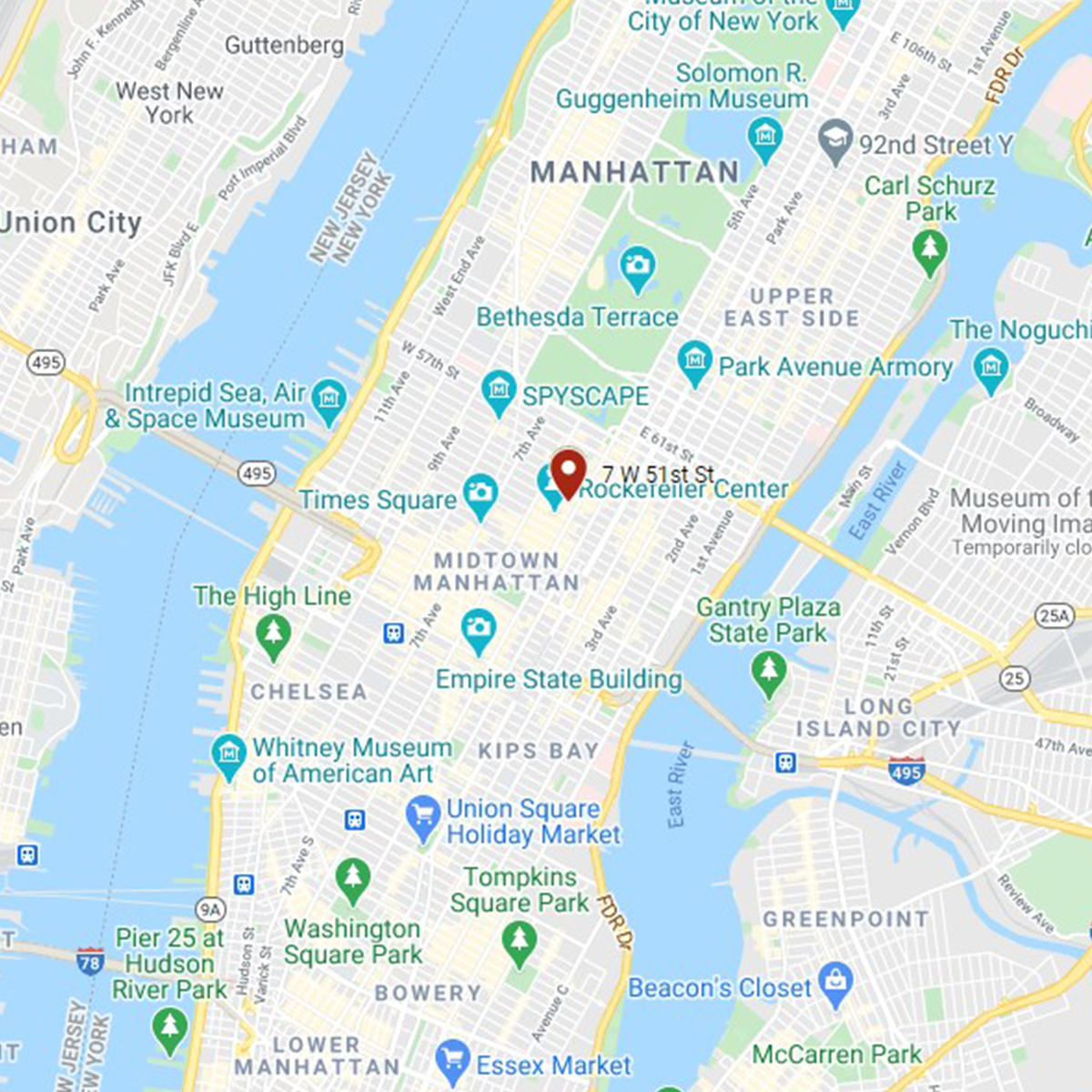 NYC location on a map square