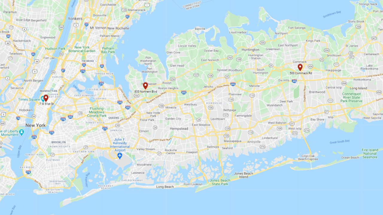 Long Island Map with pinpoints of our locations