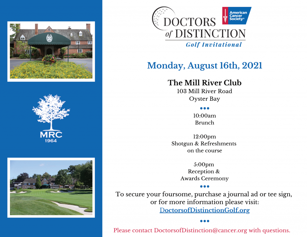 2021 American Cancer Society Doctors of Distinction Invitation. Blue side bar with 2 photos of golf courses. Main section includes date and time of the event and the honoree.