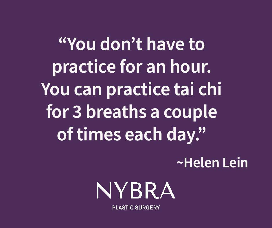 Purple color box with quote from Helen Lein: You don't have to practice for an hour. You can practice tai chi for 3 breaths a couple of times each day.