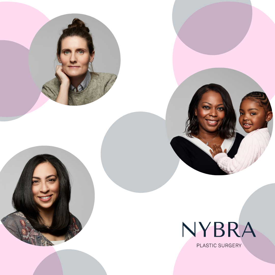 Artistic graphic of colorful circles with (3) circular images of women and NYBRA Plastic Surgery logo.