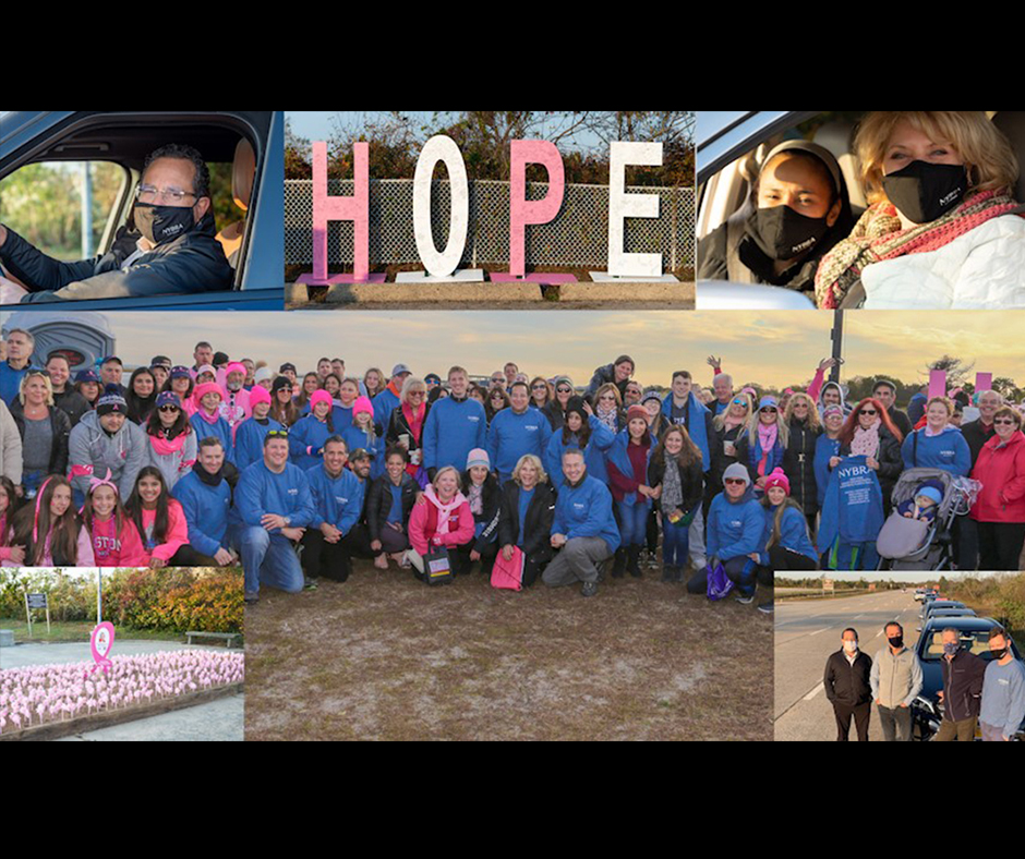 Photo collage graphic of NYBRA team at Making Strides Events over the years.