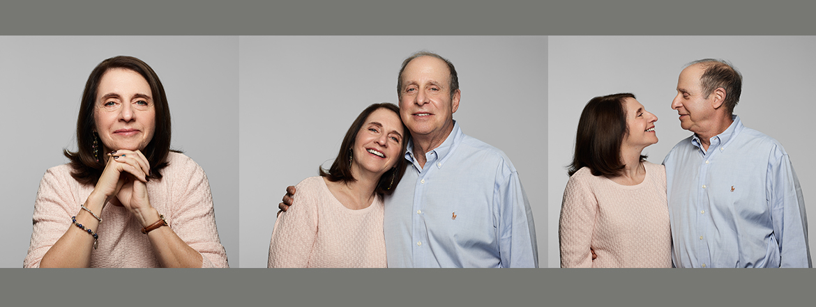 rectangle box with three photos. One with woman alone, 2nd with husband holding her smiling for the camera and the third image couple looking at each other.