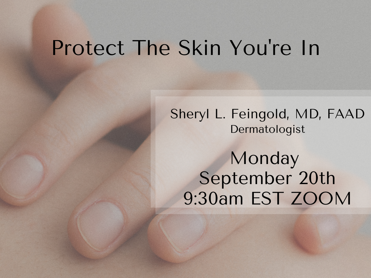 Photo of hand on shoulder with copy: Protect the Skin You're In