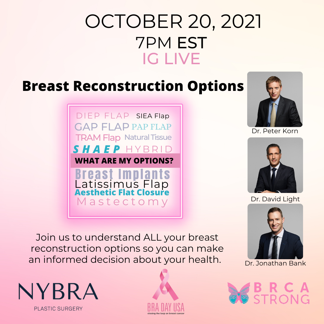 BRA Day event graphic with Dr. Korn, Dr. Light, Dr. Bank Breast Reconstruction Options