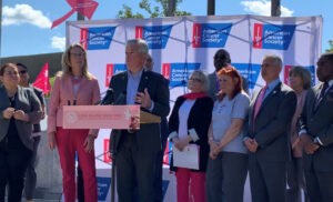 Photo of speakers at the Go Pink Long Island event to kick off Breast Cancer Awareness Month on Oct. 1, 2021
