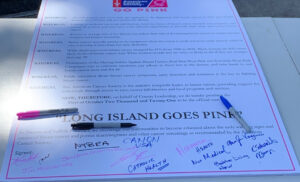 Photo of signed proclamation t the Go Pink Long Island event to kick off Breast Cancer Awareness Month on Oct. 1, 2021