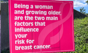 Photo of Breast Cancer Fact Poster: Being a woman and growing older are the two main factors that influence your risk for breast cancer.