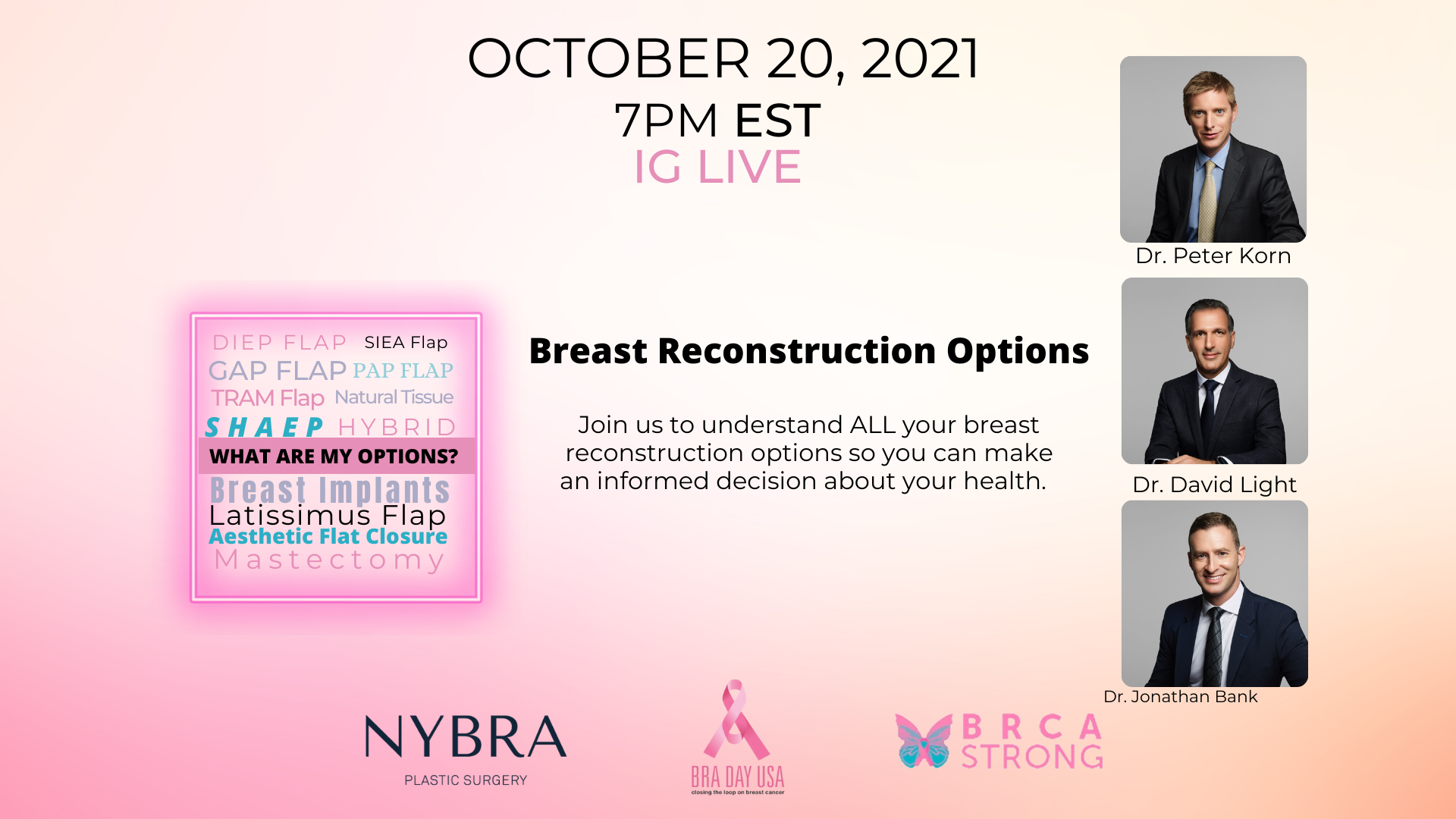 Pink shaded graphic with photos of Drs. Korn, Light and Bank promoting BRA Day Instagram Live on Oct. 20