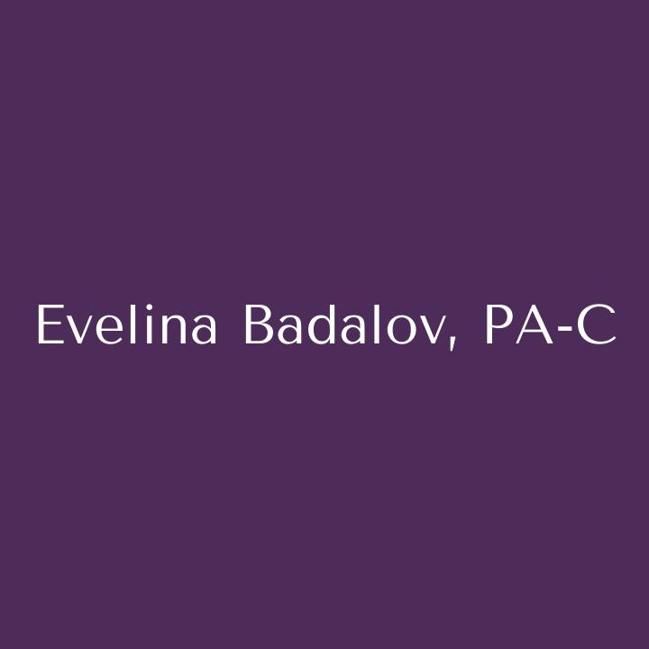 Purple color box with Evelina Badalov, PA-C