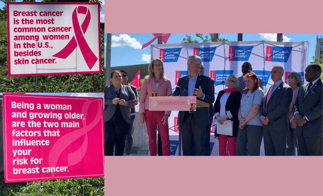 Collage of Breast Cancer fact posters and speakers at the Go Pink Long Island event to kick off Breast Cancer Awareness Month on Oct. 1, 2021