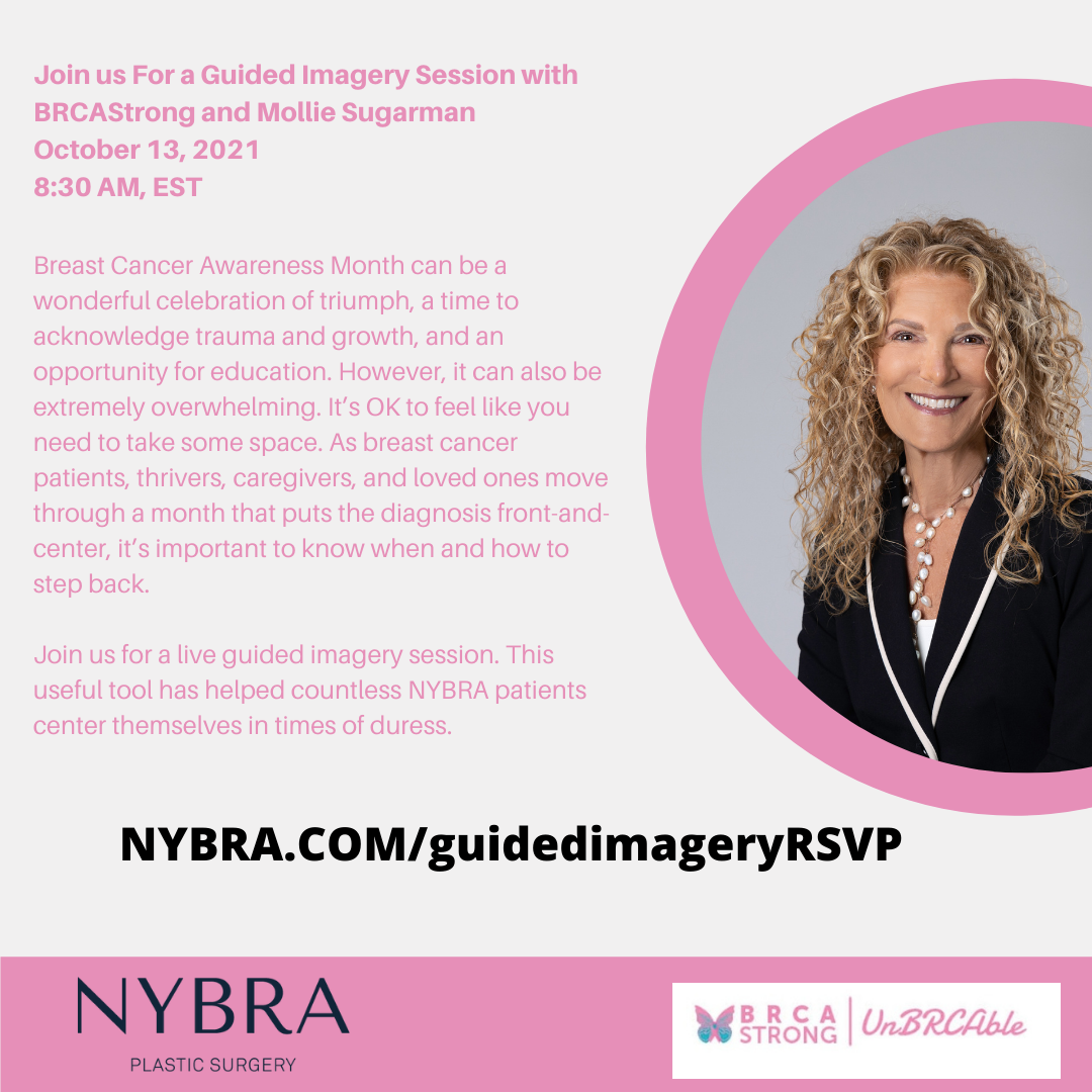 Graphic with Mollie Sugarman photo and date and time for Guided Imagery Session with BRCAStrong