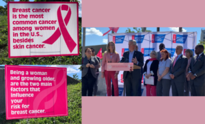 photo collage of Go Pink Long Island Press Event